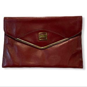 Vtg 1970's Etienne Aigner red leather envelope bag